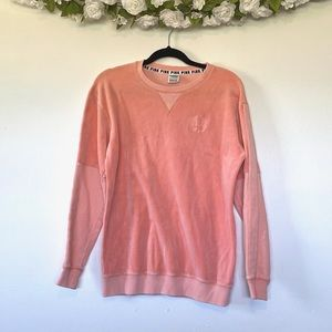 PINK VS Peach Velvet Velour Sweatshirt